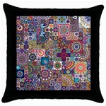 Ornamental Mosaic Background Throw Pillow Case (Black) Front