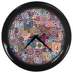 Ornamental Mosaic Background Wall Clocks (Black)