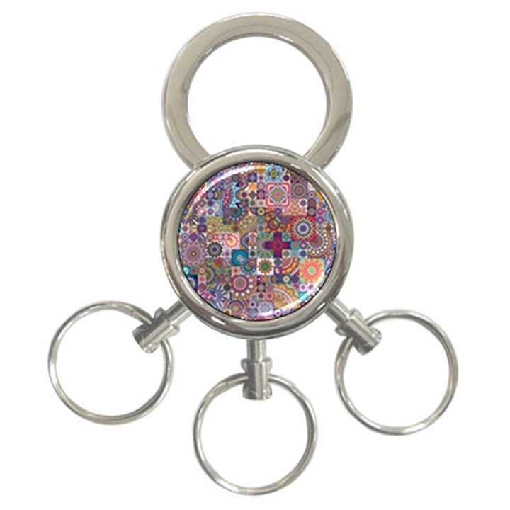 Ornamental Mosaic Background 3-Ring Key Chains