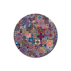 Ornamental Mosaic Background Rubber Round Coaster (4 pack)