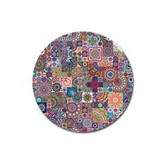 Ornamental Mosaic Background Magnet 3  (round) by TastefulDesigns