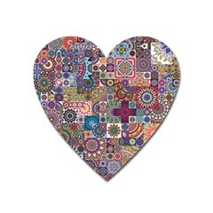 Ornamental Mosaic Background Heart Magnet