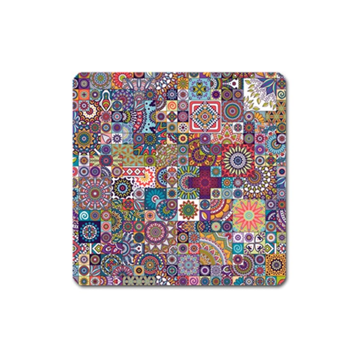 Ornamental Mosaic Background Square Magnet