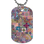 Ornamental Mosaic Background Dog Tag (One Side) Front