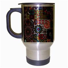 Ornamental Mosaic Background Travel Mug (Silver Gray)