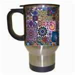 Ornamental Mosaic Background Travel Mugs (White) Left