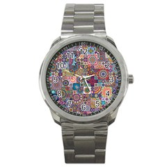 Ornamental Mosaic Background Sport Metal Watch by TastefulDesigns