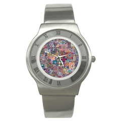 Ornamental Mosaic Background Stainless Steel Watch