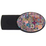 Ornamental Mosaic Background USB Flash Drive Oval (4 GB)  Front