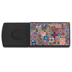 Ornamental Mosaic Background Usb Flash Drive Rectangular (4 Gb)  by TastefulDesigns