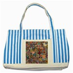 Ornamental Mosaic Background Striped Blue Tote Bag