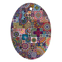 Ornamental Mosaic Background Oval Ornament (two Sides) by TastefulDesigns