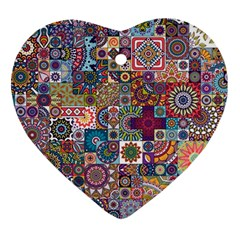 Ornamental Mosaic Background Heart Ornament (2 Sides) by TastefulDesigns