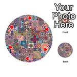 Ornamental Mosaic Background Playing Cards 54 (Round)  Front - Heart7
