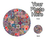 Ornamental Mosaic Background Playing Cards 54 (Round)  Front - Heart10