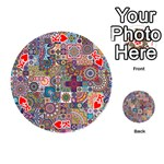 Ornamental Mosaic Background Playing Cards 54 (Round)  Front - HeartK