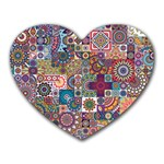 Ornamental Mosaic Background Heart Mousepads Front