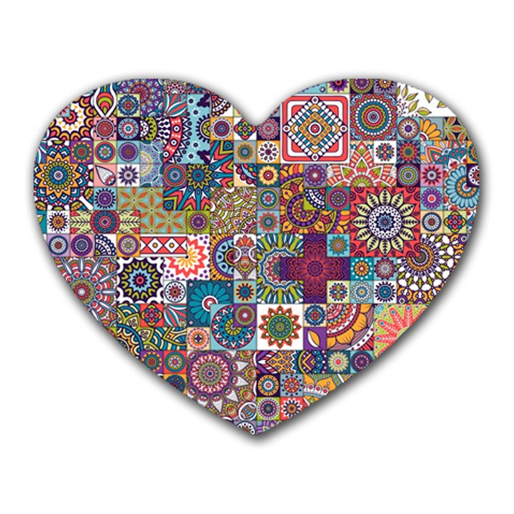 Ornamental Mosaic Background Heart Mousepads