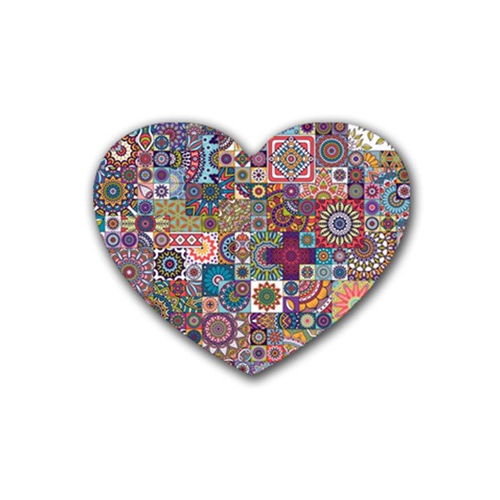 Ornamental Mosaic Background Rubber Coaster (Heart)