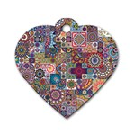 Ornamental Mosaic Background Dog Tag Heart (Two Sides)
