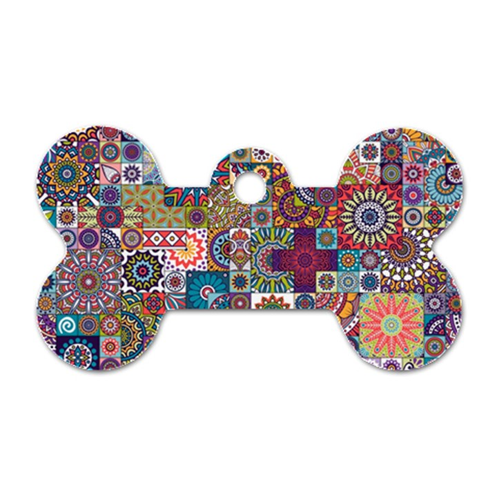Ornamental Mosaic Background Dog Tag Bone (One Side)