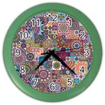 Ornamental Mosaic Background Color Wall Clocks