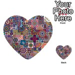 Ornamental Mosaic Background Multi-purpose Cards (Heart)  Front 38