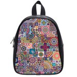 Ornamental Mosaic Background School Bags (Small)  Front