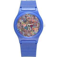 Ornamental Mosaic Background Round Plastic Sport Watch (s) by TastefulDesigns