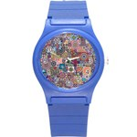Ornamental Mosaic Background Round Plastic Sport Watch (S)