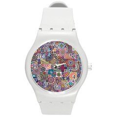 Ornamental Mosaic Background Round Plastic Sport Watch (m) by TastefulDesigns