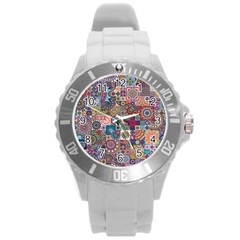 Ornamental Mosaic Background Round Plastic Sport Watch (l) by TastefulDesigns