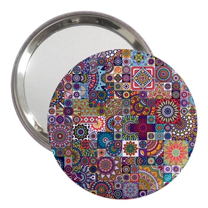 Ornamental Mosaic Background 3  Handbag Mirrors