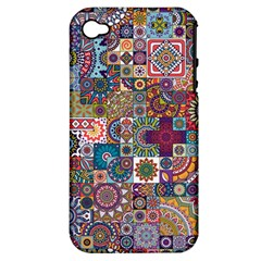 Ornamental Mosaic Background Apple Iphone 4/4s Hardshell Case (pc+silicone)
