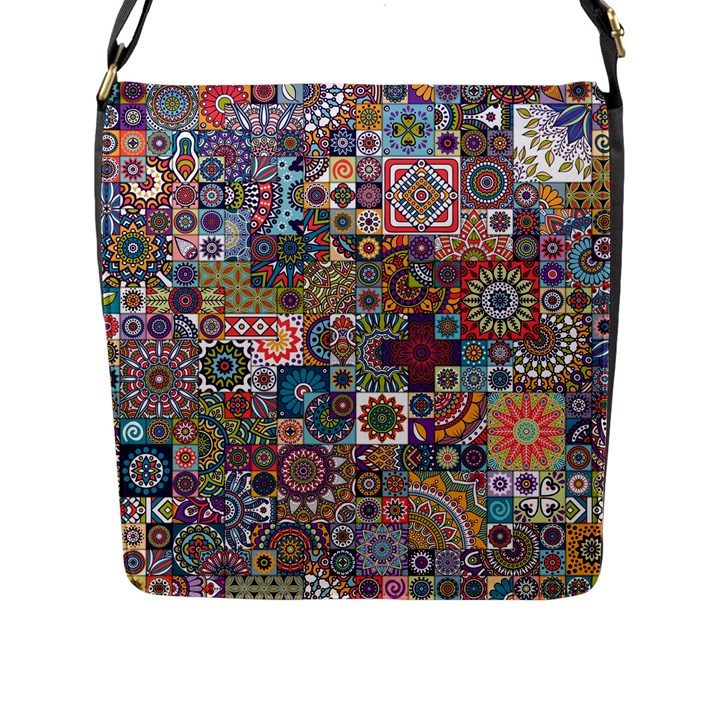 Ornamental Mosaic Background Flap Messenger Bag (L)