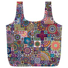 Ornamental Mosaic Background Full Print Recycle Bags (l)  by TastefulDesigns