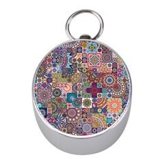 Ornamental Mosaic Background Mini Silver Compasses