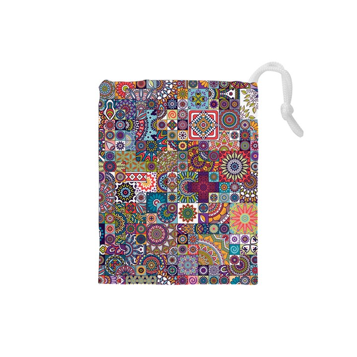 Ornamental Mosaic Background Drawstring Pouches (Small)