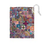 Ornamental Mosaic Background Drawstring Pouches (Large)