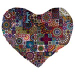 Ornamental Mosaic Background Large 19  Premium Flano Heart Shape Cushions Front