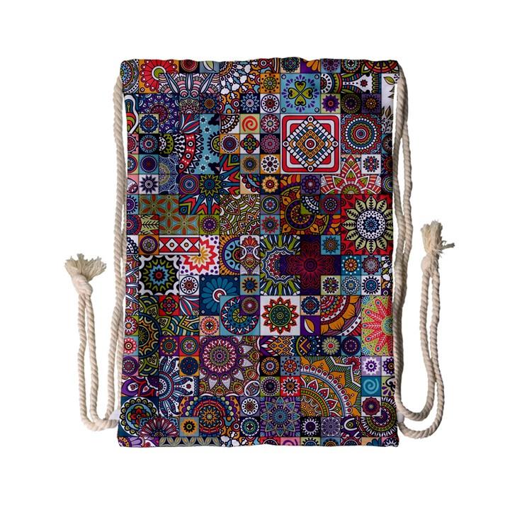 Ornamental Mosaic Background Drawstring Bag (Small)