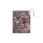 Ornamental Mosaic Background Drawstring Pouches (XS)  Front
