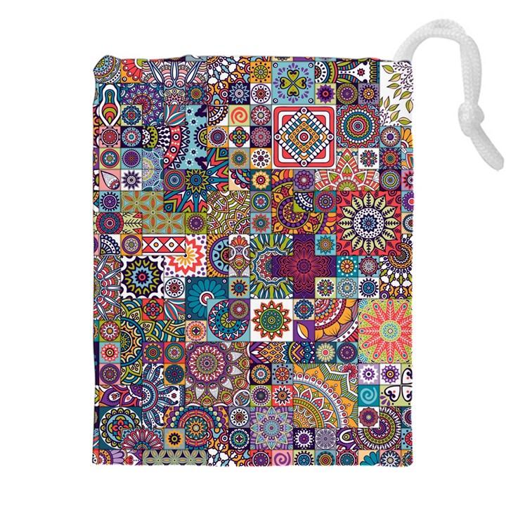 Ornamental Mosaic Background Drawstring Pouches (XXL)