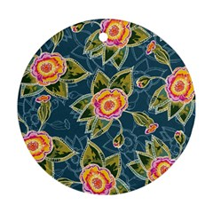 Floral Fantsy Pattern Ornament (round)  by DanaeStudio