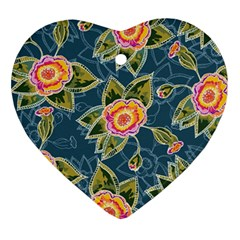 Floral Fantsy Pattern Ornament (heart)  by DanaeStudio