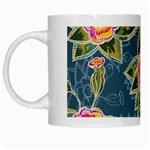 Floral Fantsy Pattern White Mugs