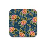 Floral Fantsy Pattern Rubber Coaster (Square)  Front