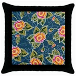 Floral Fantsy Pattern Throw Pillow Case (Black)