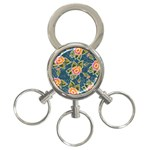 Floral Fantsy Pattern 3-Ring Key Chains
