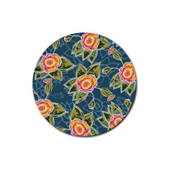 Floral Fantsy Pattern Rubber Round Coaster (4 Pack)  by DanaeStudio